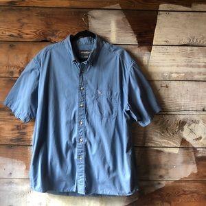 Eddie Bauer Size XL Blue Button Up Short Sleeve
